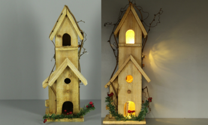 Birdhouse wood 14x12x41 natural